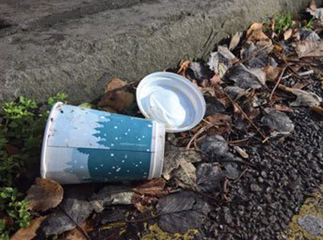 Discarded coffee cup
