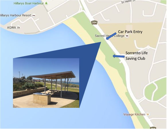 Scarborough Beach Map, Brighton Reserve is the meeting spot.