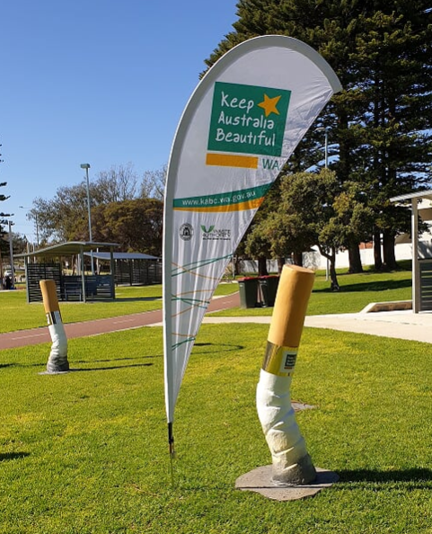 Oversized cigarette butt and Keep Australia Beautiful flag
