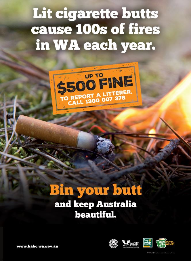 Lit cigarette butts cause 100s of fires in WA each year