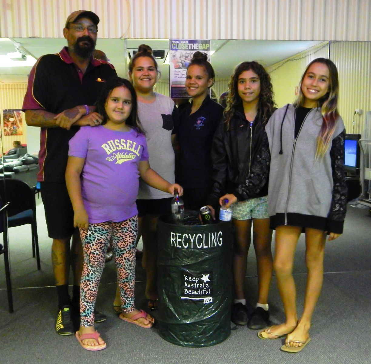 Meekatharra youth with pop up recycling bin