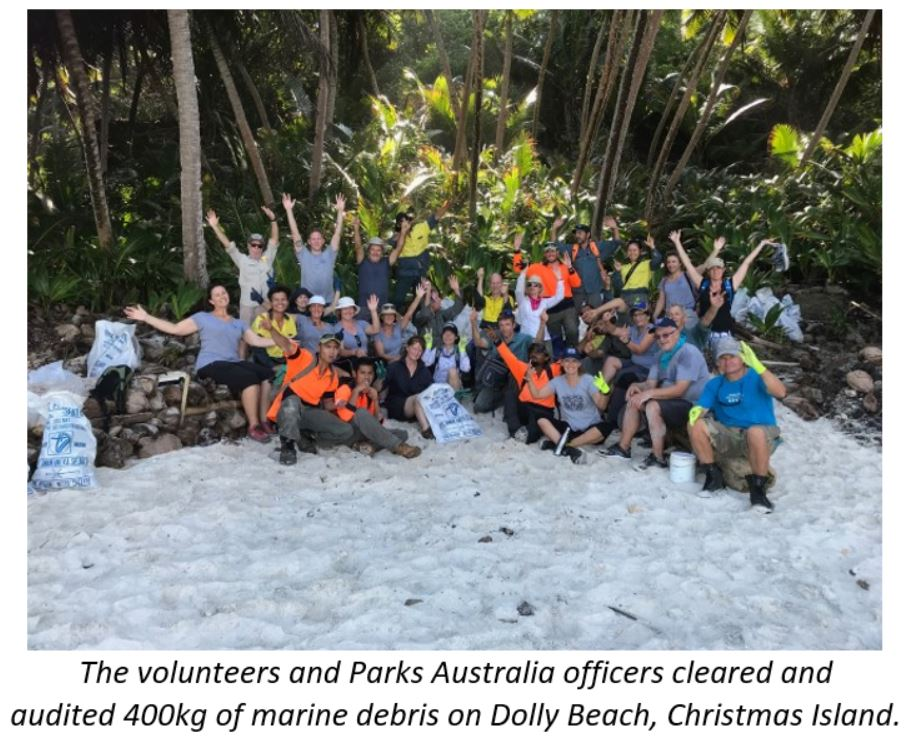 The volunteers and Parks Australia officers cleared and audited 400kg of marine debris on Dolly Beach, Christmas Island
