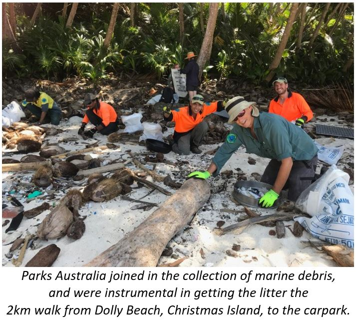 Parks Australia collecting marine debris Dolly Beach, Christmas Island