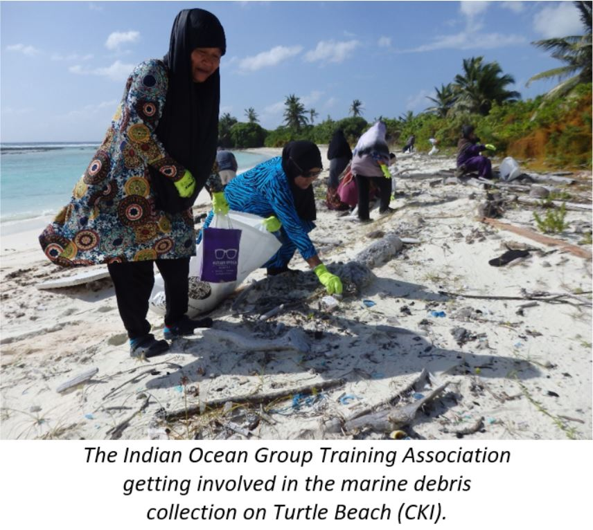 Indian Ocean Group training association getting involved in the marine debris collection on Turtle Beach (CKI)
