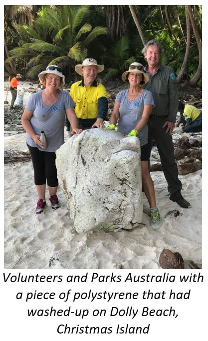 A large piece of polystyrene that washed up on Dolly Beach